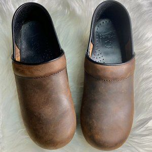 Womens Dansko Brown Oiled Leather Shoes Work 7.5